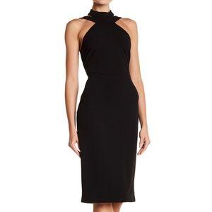BEBE Mock Neck Strappy Crepe Little Black Dress